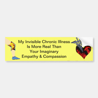 Invisible Chronic Illness Ruby Heart Bumper Sticke Bumper Sticker