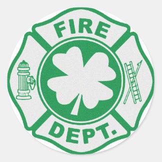 Irish Fire Dept Round Sticker