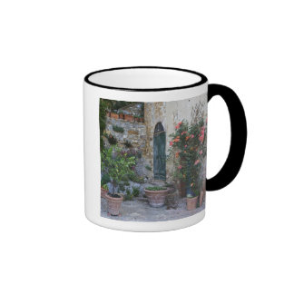 Italy, Petroio. Potted plants decorate a patio Ringer Coffee Mug