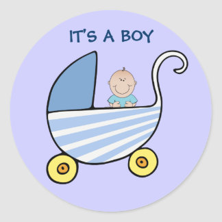 It's A Boy Blue Baby Carriage Shower Announcement Round Sticker