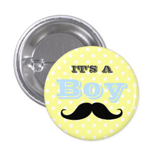 Its A Boy Mustache Yellow and Blue Baby Shower 1 Inch Round Button