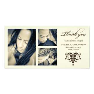 IVORY FORMAL COLLAGE | WEDDING THANK YOU CARD PERSONALIZED PHOTO CARD