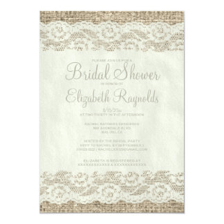 Ivory Rustic Lace Bridal Shower Invitations