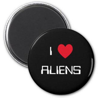 J'aime des aliens magnet rond 8 cm
