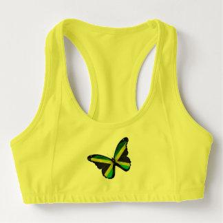 Jamaican Flag Butterfly Sports Bra
