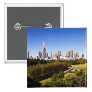 Japan. Tokyo. Shinjuku District Skyline and 2 Inch Square Button