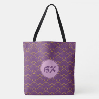 Japanese Seigaiha Scallop Purple Gold Pink Tote Bag