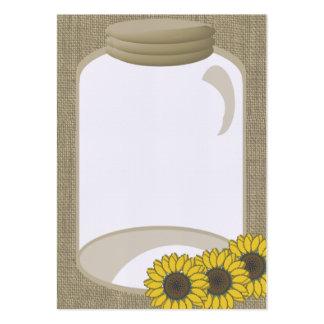 Jar and Sunflower Wedding Shower message Large Business Card