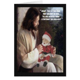Jésus drôle et Père Noël Carte De Vœux