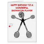 Joueur de badminton de joyeux anniversaire carte de vœux