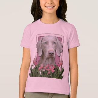 Jour de mères - rose - tulipes - Weimeraner - bleu Tee Shirt