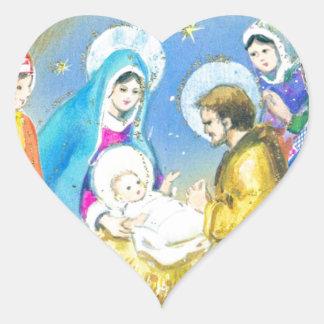 Joyeuse Noel, Vintage French Christmas Card Heart Sticker