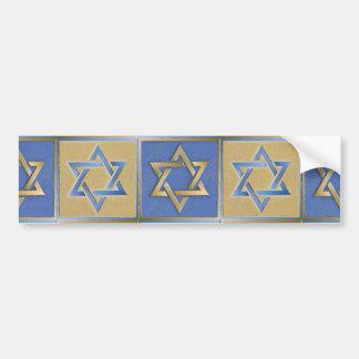 Judaica Star Of David Metal Gold Blue Bumper Sticker