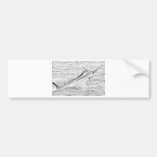 Jumping marlin bumper sticker