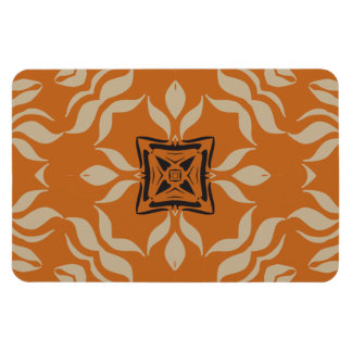 Kaleidoscope Square, Orange Tan Brown Rectangular Photo Magnet