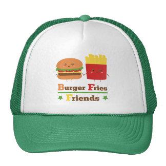 Kawaii Cartoon Burger Fries Friends BFF Trucker Hat