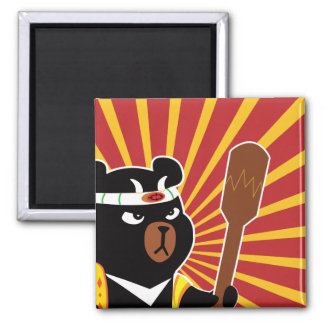 Kawaii Cute Ninja Bear for Nerd Geeks Square Magnet