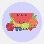 Kawaii Fruit Group Round Sticker