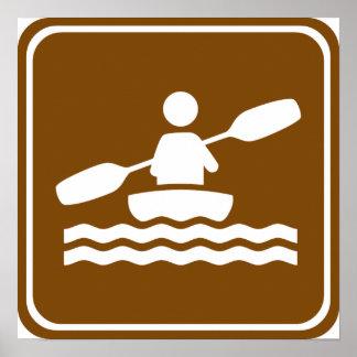 Kayaking Highway Sign Poster