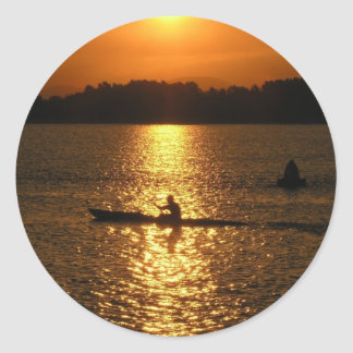 Kayaking Sunset Round Sticker
