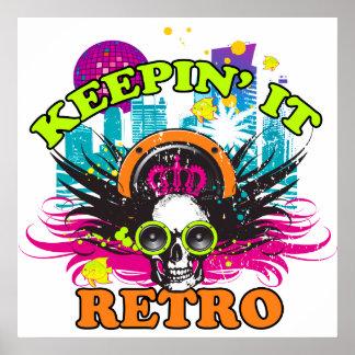 Keepin It Retro Neon Disco Crown Skull Poster