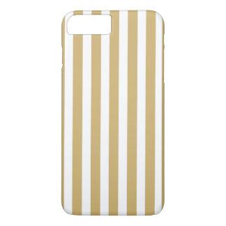 Khaki Beige and White Cabana Stripes iPhone 7 Plus Case