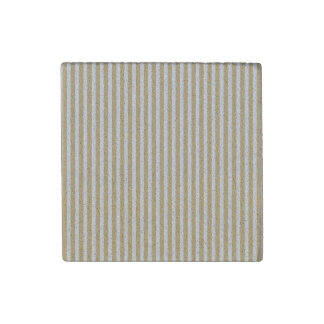 Khaki Beige and White Cabana Stripes Stone Magnets