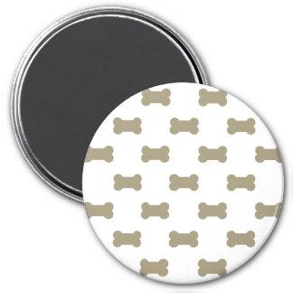 khaki Beige Dog Bones On Bright White Background 3 Inch Round Magnet