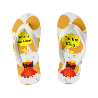 King Bulldog illustration, cool bulldog Kid's Flip Flops