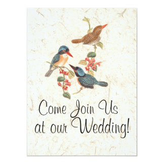 Kingfisher Bird Flowers Floral Wedding Invitations