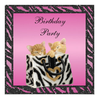 "Kittens in Bag Zebra Print Faux Glitter Birthday 5.25"" Square Invitation Card"