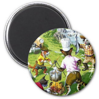 Kitty Cousins Fishing Trip 2 Inch Round Magnet