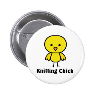 Knitting Chick 2 Inch Round Button