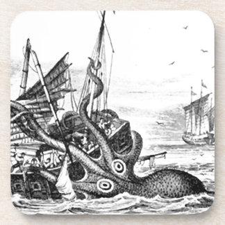 Kraken/Octopus Eatting A Pirate Ship, Black/White Coaster