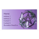 KRW Purple Floral Wiccan Pentagram Business Card