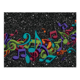 la musique colorée note l'effet de scintillement carte postale