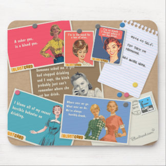 Ladies drinking cork board mouse pad