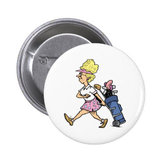 Lady Golfer Tshirts and Gifts 2 Inch Round Button