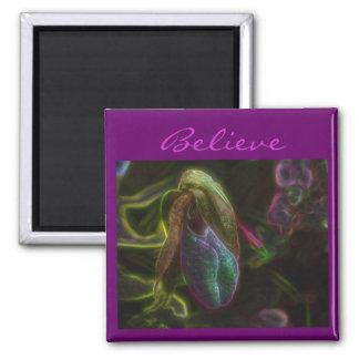 Lady Slipper Flower Believe Inspirational Magnet