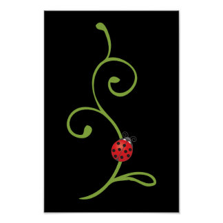 Ladybug on Vine Poster
