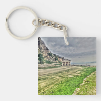 Landscape picture taken in Corfu, Greece Double-Sided Square Acrylic Keychain