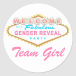 Las Vegas Sign Gender Reveal Team Girl Stickers
