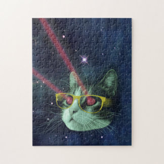 Laser cat with glasses in space puzzles