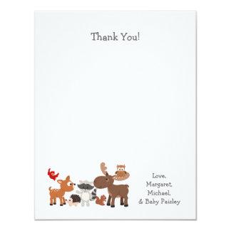 Le baby shower animal de région boisée vous carton d'invitation 10,79 cm x 13,97 cm