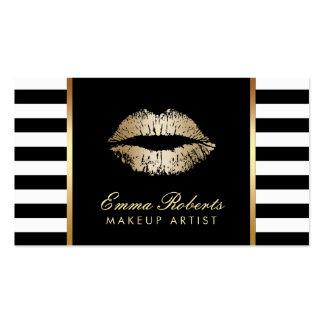 Le blanc noir chic de maquilleur barre des lèvres carte de visite standard