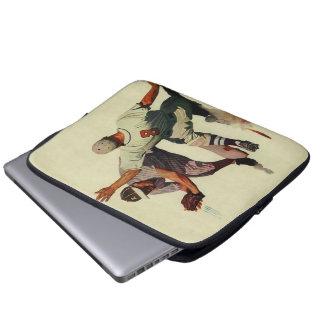 Le cru folâtre le base-ball, joueur glissant dans housses ordinateur portable
