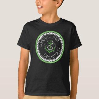 Le petit homme de pont du papa -- Blanc et vert Tee Shirt