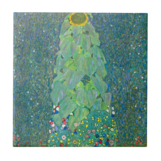 Le tournesol par Klimt, cru fleurit l'art Nouveau Petit Carreau Carré