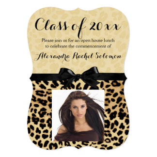 Leopard Print and Bow Graduation/Party Invitation