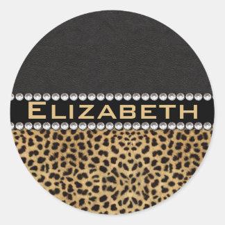 Leopard Spot Rhinestone Diamonds Monogram PHOTO Round Sticker